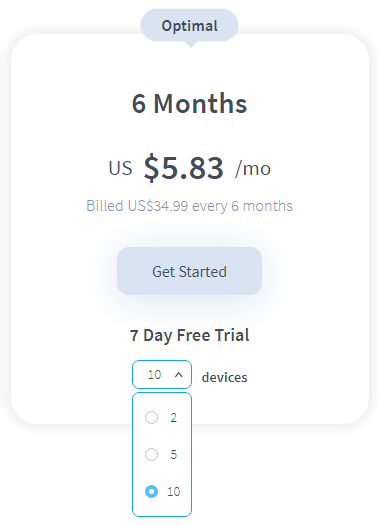 Amount of devices in a subscription plan