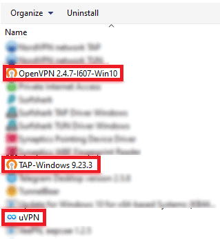 uninstall page