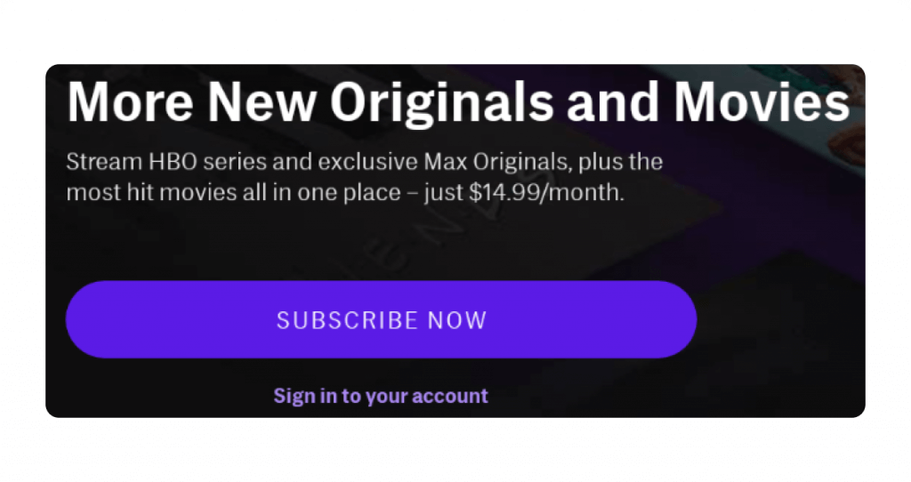 The HBO Max subscribe button