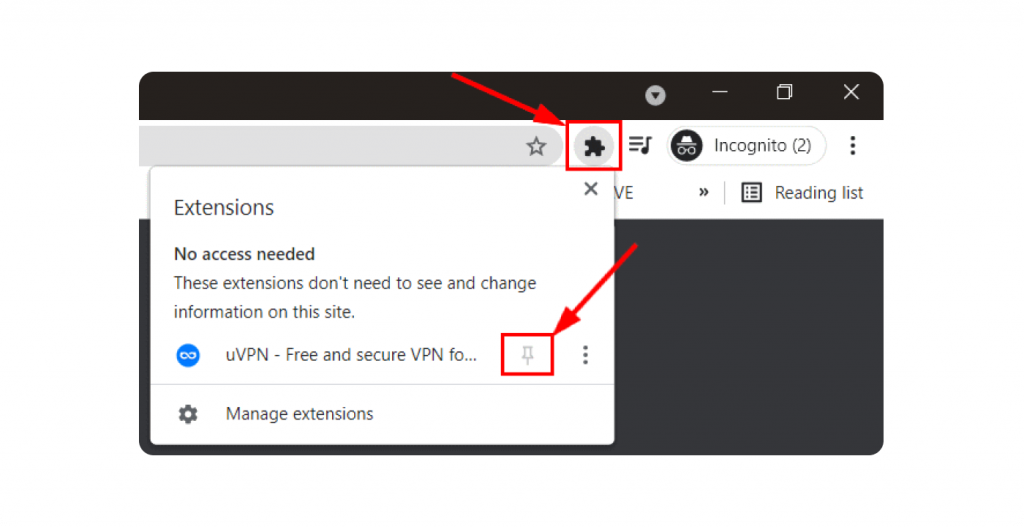 How to pin chrome extension