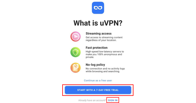 Star a free VPN